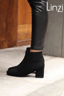 Linzi Verse Suede Square Toe Low Heel Boot