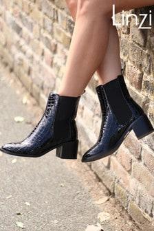 Linzi Kay Pull On Chelsea Boot With Stacked Block Heel