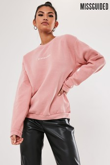 Missguided Washed Slogan Sweat Top