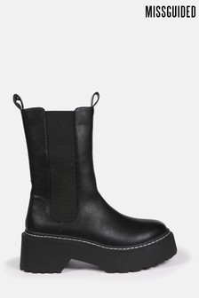 Missguided Pull On Tab Detail Chunky Ankle Boots