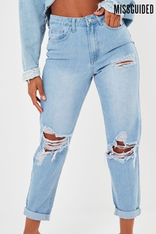 Missguided Riot Highwaisted Roll Hem Rip Mom Jean