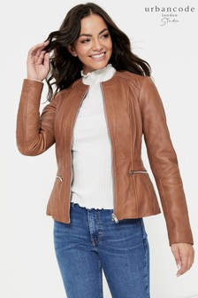 Urban Code Collarless Leather Jacket