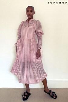 Topshop Check Organza Midi Shirt Dress
