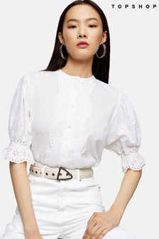 Topshop Broderie Short Sleeve Shirt