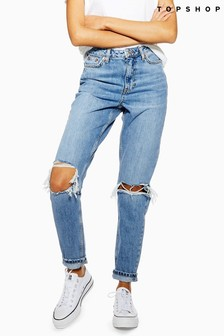 Topshop Short Leg Ripped Mom Jeans