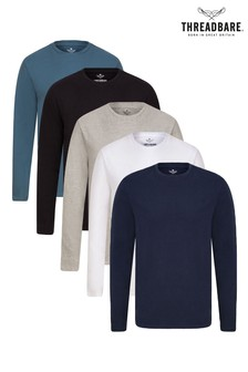 Threadbare Multi 5 Pack Long Sleeve T-Shirt