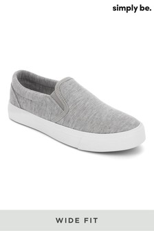 Simply Be Wide Fit Basic Canvas Slip Ons