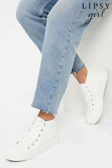 Lipsy High Top Lace Up Canvas Trainer (Older)