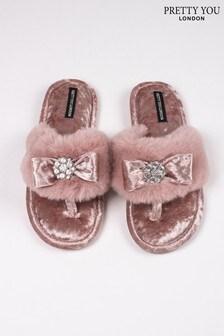 Pretty You London Amelie Faux Fur Toe Post Slippers With Diamanté Detail