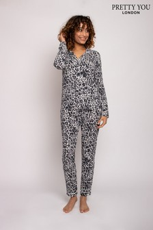 Pretty You London Luxe Leopard Bamboo Pyjama Set