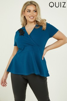 Quiz Curve Trim Short Sleeve Wrap Peplum Top
