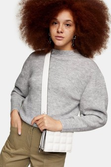 Topshop Chevron Crop Knitted Jumper