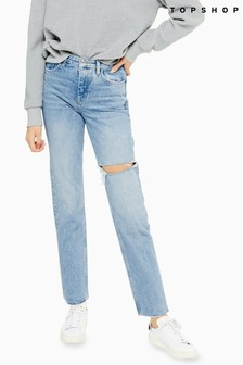 Topshop Short Leg Thigh Slash Mom Jeans