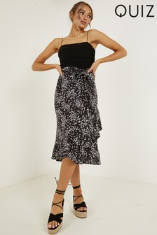 Quiz Ditsy Floral Print Wrap Skirt