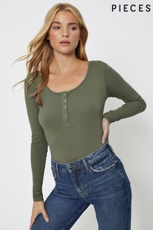 Pieces Ribbed Round Neck Button Detail Top
