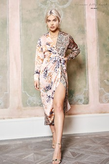 Never Fully Dressed Bloom Spliced Print Wrap Dress