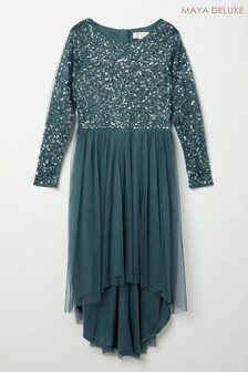 Maya Long Sleeve Delicate Sequin Dress With High Low Hem