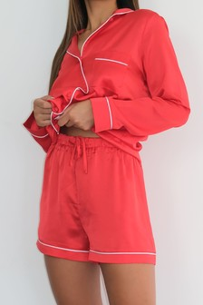 Missguided Contrast Piping Satin Shorts Pyjama Set