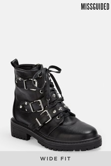 Missguided Triple Strap Studded Boot Wide Fit