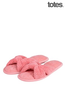 Totes Isotoner Popcorn Knot Front Open Toe Slippers