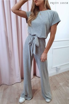 Pretty Lavish Claude Ribbed Loungewear Jumpsuit