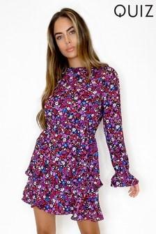 Quiz Ditsy Floral Print Dress