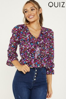 Quiz Ditsy Floral Print Top With Frill Sleeve