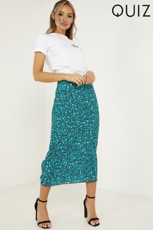 Quiz Leopard Print Midi Skirt With Elasticated Waist