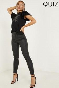 Quiz Leopard Print PU Stretchy Jeans With Skinny Leg