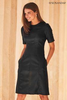 Sosandar Leather Look Paneled Shift Dress