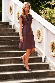 Sosandar Leather Fit & Flare Dress