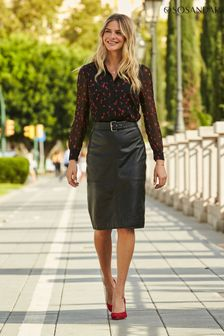 Sosandar Buckle Detail Pencil Skirt