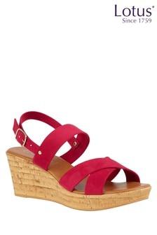 Lotus Footwear Fuchsia Wedge Open-Toe Sandals