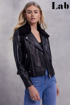 Lab Leather Detachable Faux Fur Collar Biker Jacket