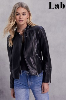 Lab Leather Collarless Biker Jacket