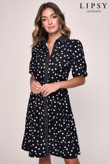 Lipsy Short Sleeve Spot Shirt Dress