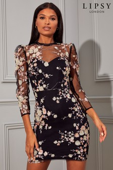 Lipsy Puff Sleeve Embroidered Bodycon