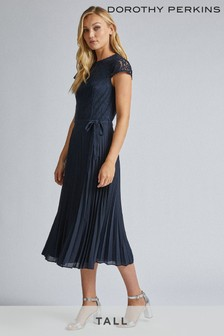 Dorothy Perkins Tall Alice Lace Top Pleated Midi Dress