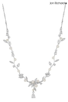 Jon Richard Pearl and Crystal Vine Pear Drop Necklace