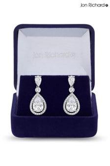 Jon Richard Rhodium Plated Cubic Zirconia Pear drop Drop Earrings - Gift Boxed