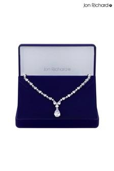 Jon Richard Rhodium Plated Cubic Zirconia Graduated Peardrop Short Pendant Necklace - Gift Boxed