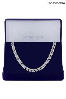 Jon Richard Rhodium Plated Cubic Zirconia Leaf Necklace - Gift Boxed