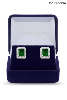 Jon Richard Rhodium Plated Emerald Cubic Zirconia Drop Earrings - Gift Box