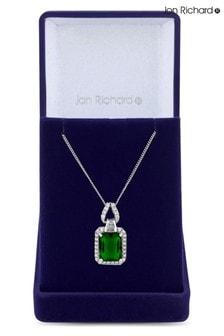 Jon Richard Rhodium Plated Emerald Cubic Zirconia Pendant Necklace - Gift Boxed