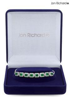 Jon Richard Rhodium Plated Emerald Cubic Zirconia Perfume Bottle Bracelet - Gift Boxed