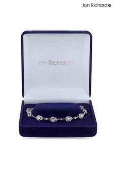 Jon Richard Rhodium Plated Cubic Zirconia Tennis Pear Crystal Bracelet - Gift Boxed