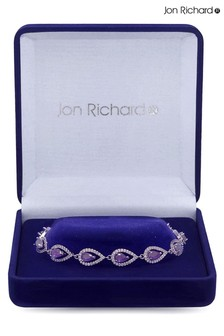 Jon Richard Rhodium Plated Amethyst Cubic Zirconia Double Pear Bracelet - Gift Boxed
