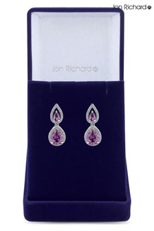 Jon Richard Rhodium Plated Amethyst Cubic Zirconia Double Pear Earring - Gift Boxed