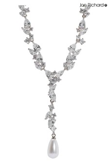 Jon Richard Rhodium Plated Pearl And Cubic Zirconia Leah Classic Y Drop Necklace