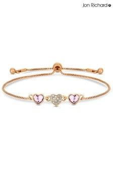 Jon Richard Plated Pink Dancing Heart Made with Swarovski Crystals Toggle Bracelet